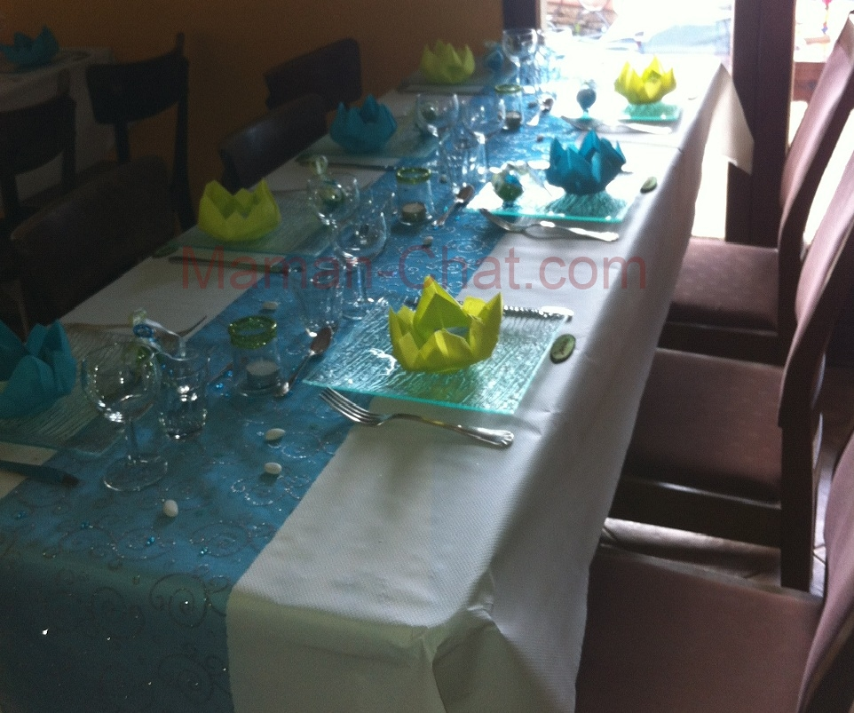 Un mariage a se pr pare l 39 avance ou pas famille chat for Decoration de table bleu